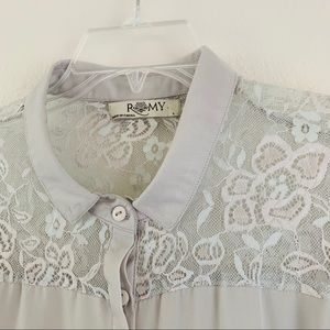Gray Lace Back Romy Long Sleeve Blouse A